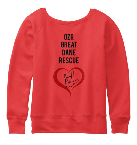 Ozr Great Dane Rescue Red T-Shirt Back