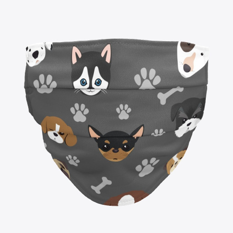 Dog Face Covering 2 Charcoal T-Shirt Front