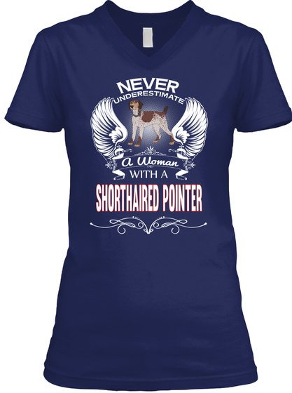 Super Power Woman With Shorthaired Point Navy T-Shirt Front