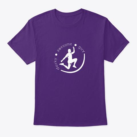 Dorky Awesome Guy Logo Purple T-Shirt Front