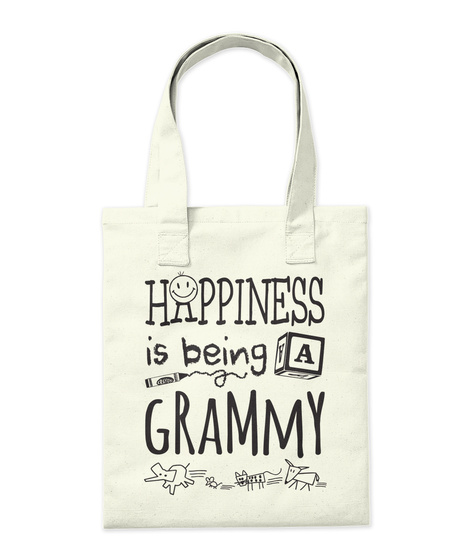 Happy Grammy Happiness Is Being A Grammy Natural Tote Bag Back