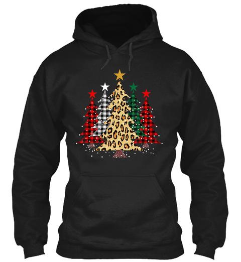 Cute Merry Christmas Tree Leopard Design Black T-Shirt Front