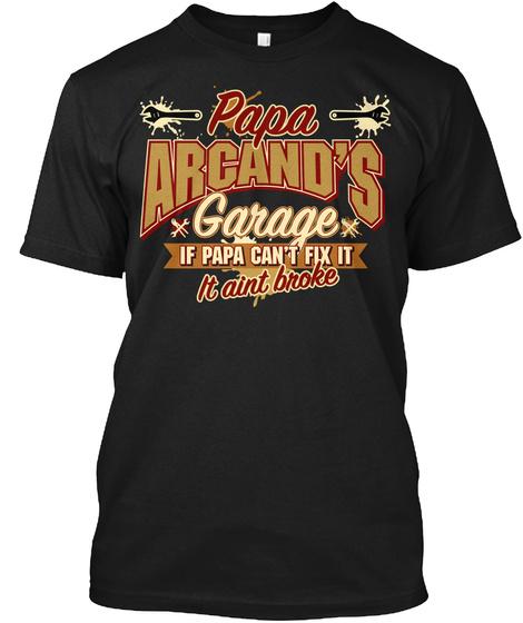Papa Arcand's Garage Black T-Shirt Front