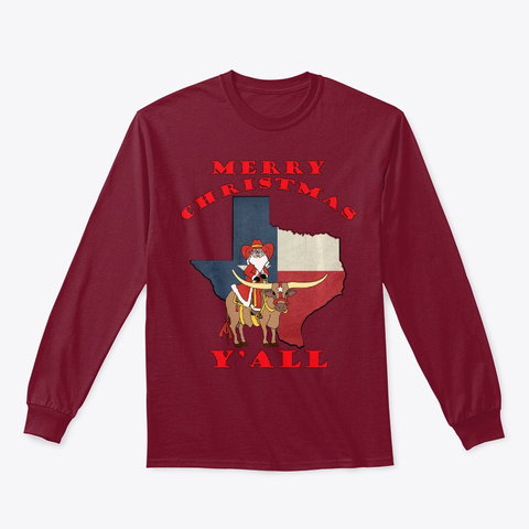 Texas Merry Christmas Y'all Santa On Bul Cardinal Red T-Shirt Front