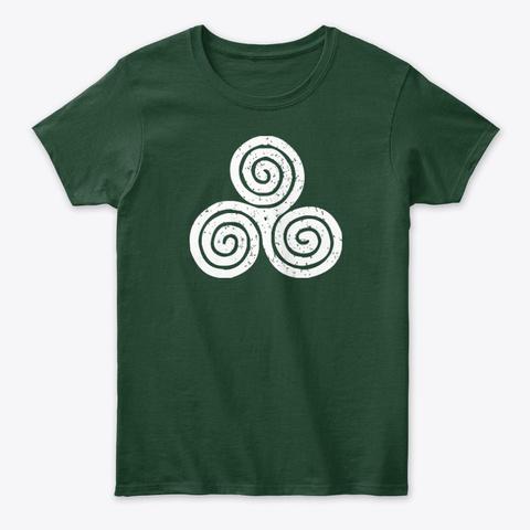Irish Culture Green Shamrock Clover Art Forest Green T-Shirt Front