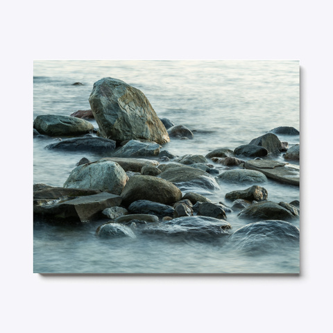 Ocean Waves And Rocks Landscape Print White T-Shirt Front