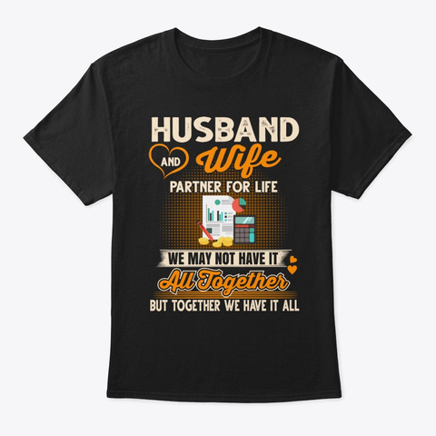 Accountant Couple Tee Partners For Life Black T-Shirt Front