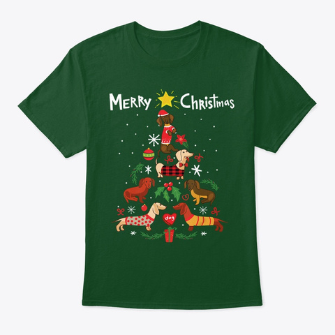 Funny Dachshund Christmas Tree Gift Tee Deep Forest T-Shirt Front
