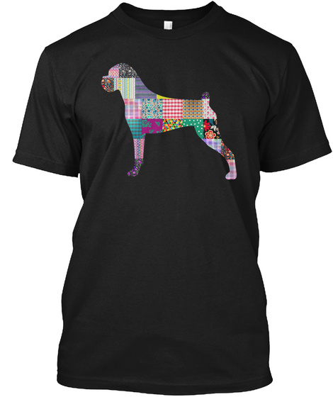 Boxer Quilting Pattern Black T-Shirt Front