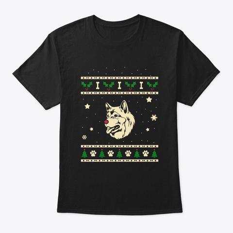 Christmas Alaskan Malamute Gift Black T-Shirt Front