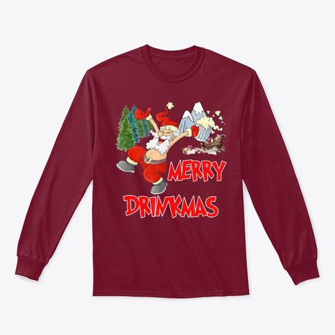Merry Drinkmas Drunk Santa Fun Drinking Cardinal Red T-Shirt Front