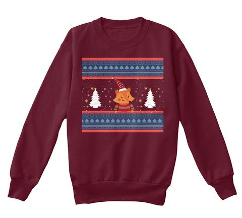 Little Fox Christmas Sweatshirt Maroon T-Shirt Front