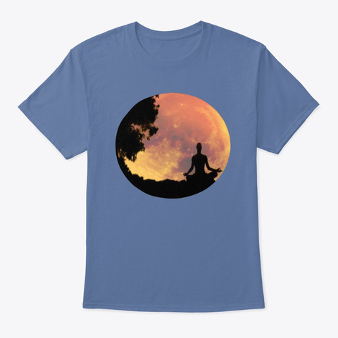 Apathecary Meditating With The Moon Denim Blue T-Shirt Front