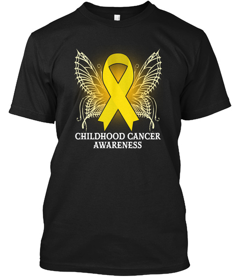 Yellow Butterfly Awareness Tshirt Black T-Shirt Front