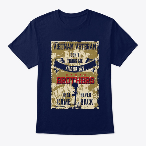 Veteran Veteran Don't Thank Me Navy T-Shirt Front