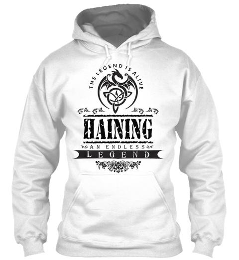 Haining  White T-Shirt Front