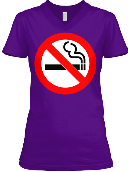 N0 Sm0kjng W0m3n's V N3ck T33 Purp| 3 Team Purple  T-Shirt Front