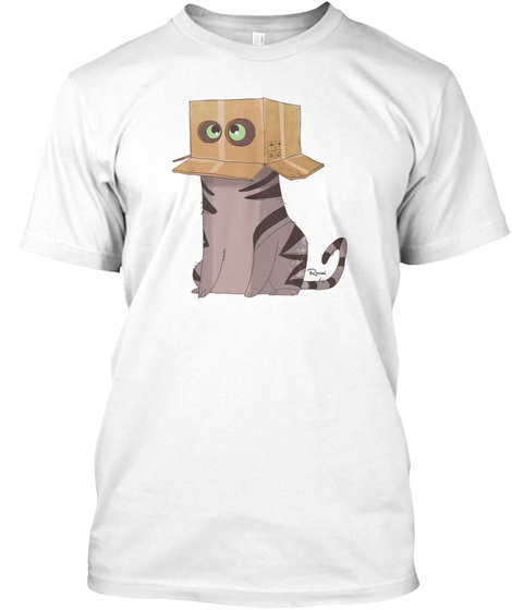 Cat In The Box! White T-Shirt Front