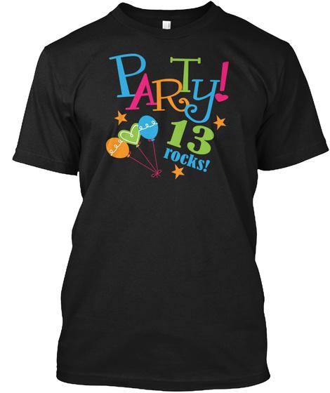 13th Birthday Party Girls Tshirt Black T Shirt Front