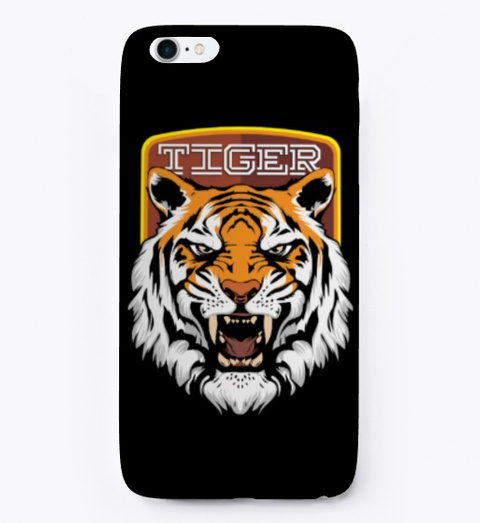 Royal Tiger With Writing   Iphone Case Black T-Shirt Front