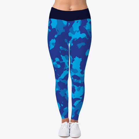 Blue Camo Yoga Pant Black T-Shirt Front