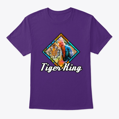 Retro Tiger King Purple T-Shirt Front