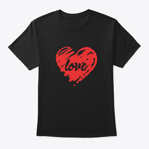 Valentines Day Distressed Red Heart Love Black T-Shirt Front