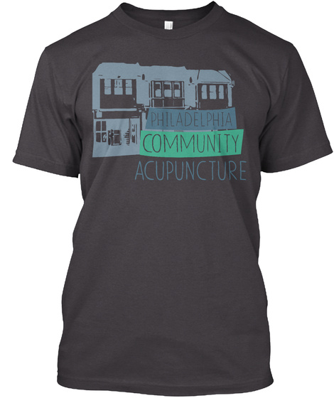 Philadelphia Community Acupuncture Heathered Charcoal  T-Shirt Front