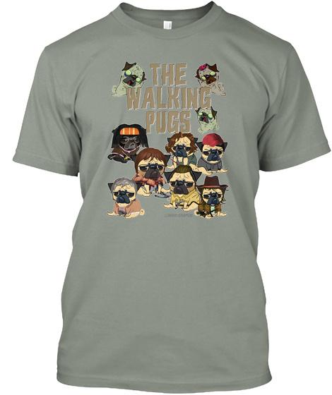 The Walking Pugs Grey T-Shirt Front