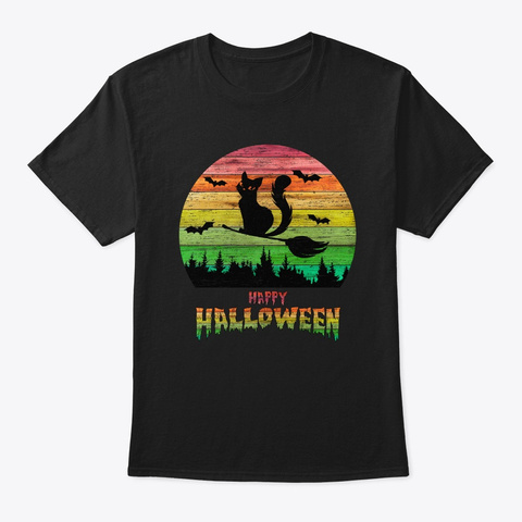 Vintage Halloween Cat Witch Black T-Shirt Front