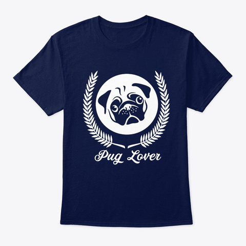 Dog Pug Lover Navy T-Shirt Front