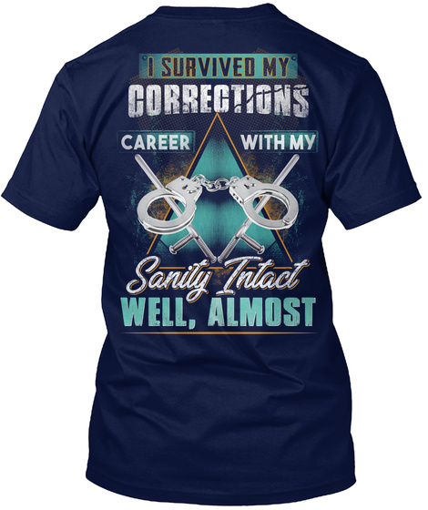 Awesome Correctional Officer Navy T-Shirt Back