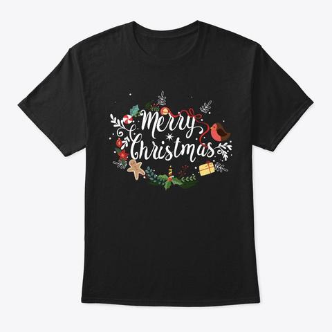 Merry Christmas Happy Family Xmas Tee Gi Black T-Shirt Front