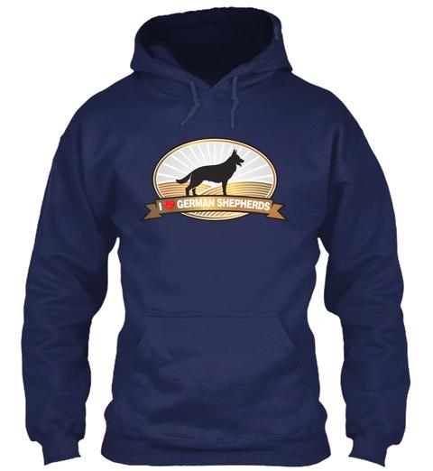 I Love German Shepherds, I Heart Gs Ds Navy T-Shirt Front