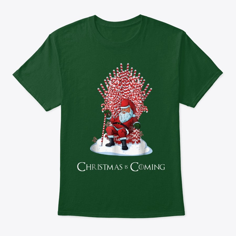 Santa Candy Cane Throne Funny Christmas Deep Forest T-Shirt Front