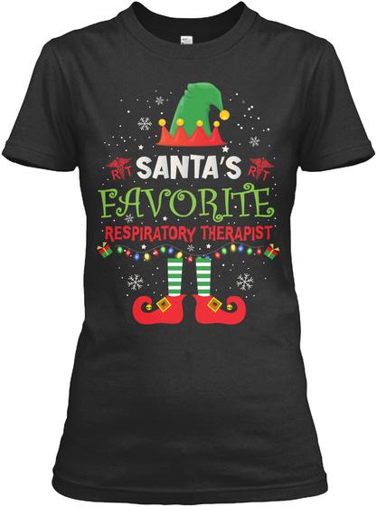 Santa's Favourite Respiratory Therapist Black T-Shirt Front
