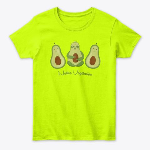 Sloth Avocado Vegetarian Vegan Gift Safety Green T-Shirt Front