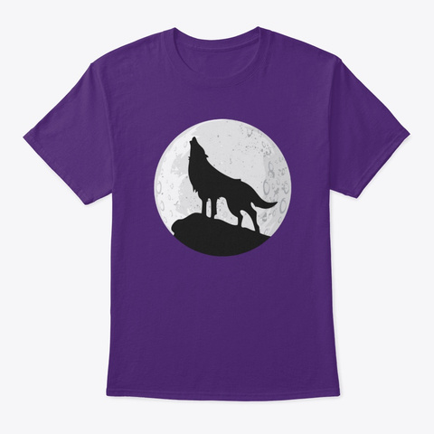 Hoodie Wolf Howling At Moon Purple T-Shirt Front