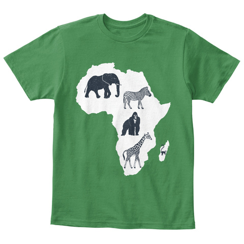 Animals Of Africa Children Tee Kelly Green  T-Shirt Front