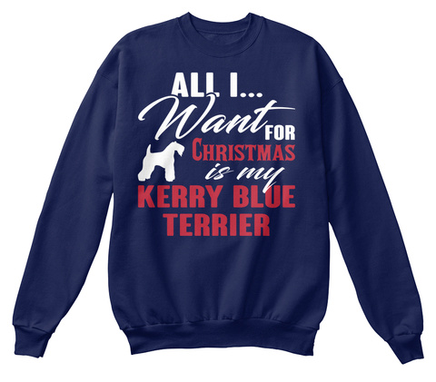 Kerry Blue Terrier Ugly Christmas Sweate Navy  T-Shirt Front