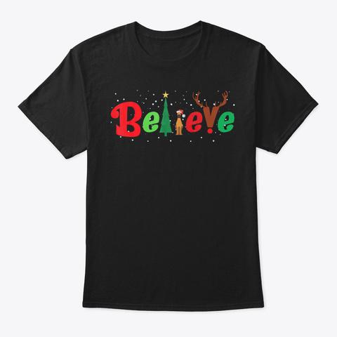 Believe Santa Great Dane Dog Xmas Costum Black T-Shirt Front
