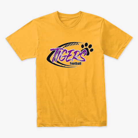 Tigers Football Gold T-Shirt Front