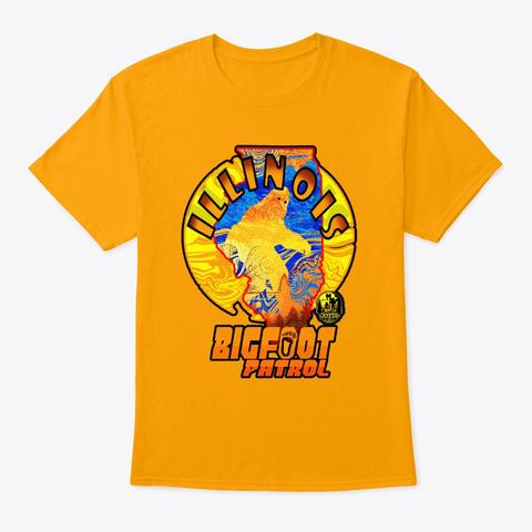 Illinois Bigfoot Patrol State Sasquatch Gold T-Shirt Front