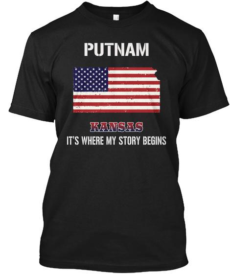 Putnam Ks   Story Begins Black T-Shirt Front