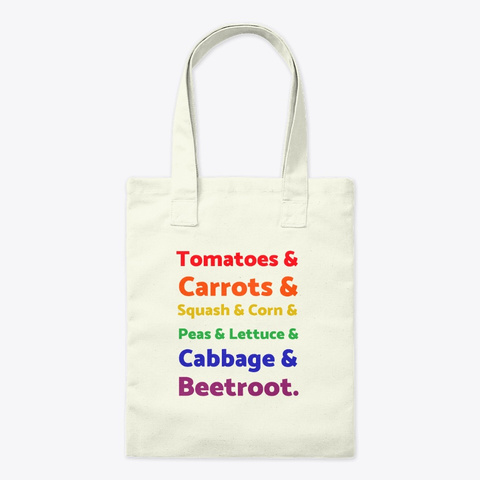 Rainbow List Of Vegetables Natural T-Shirt Front