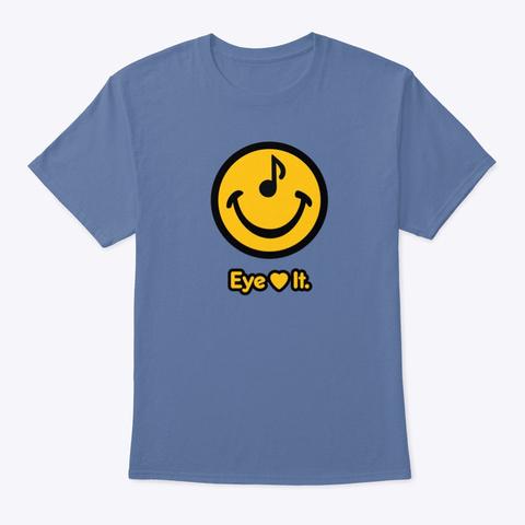 Smileclops™ Eye Love Music Denim Blue T-Shirt Front
