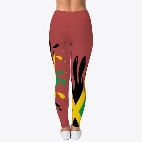Splash Of Jamaica Leggings  Burgandy T-Shirt Back