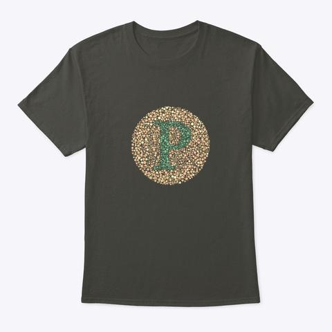 """""""P"""" Eye Test Letter Circle Smoke Gray T-Shirt Front"""