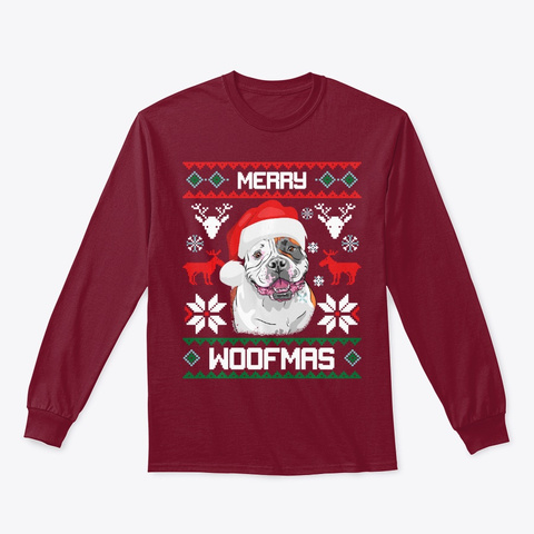 American Bulldog Gift For Merry Woofmas Cardinal Red T-Shirt Front
