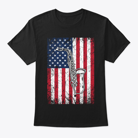 Saxophone American Flag 4th Of July Black T-Shirt Front